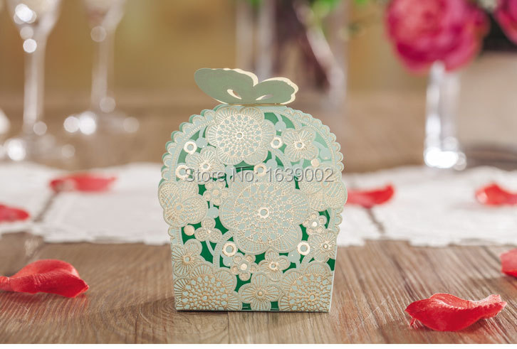 50PCS Handwork DIY Flowers Butterfly Pierced Paper Childrens Birthday Party Wedding Gift Boxes Bag Decoration Supplies(XTH001)(China (Mainland))