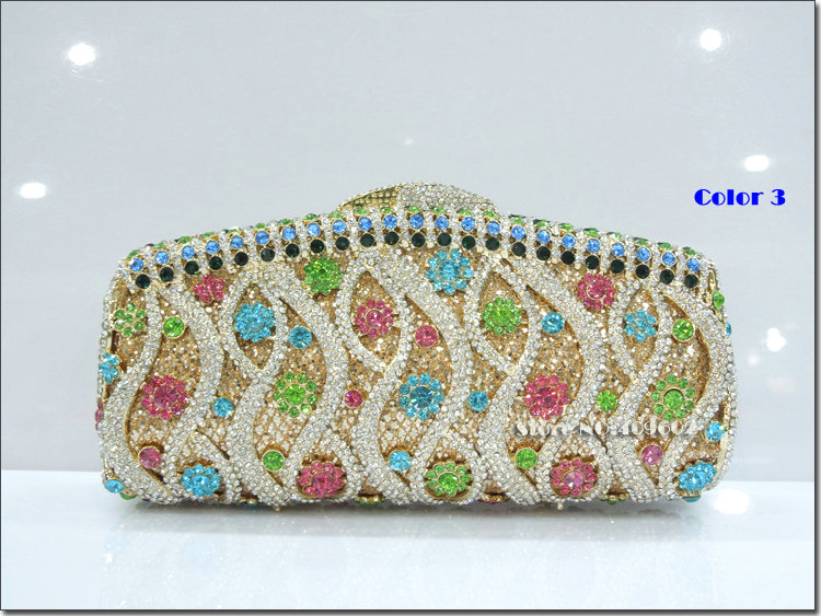 Free Shipping 2014  New Luxury Crystal Women Evening bag Waves Handbag clutch Wedding packages Multicolor accessories wholesale<br><br>Aliexpress