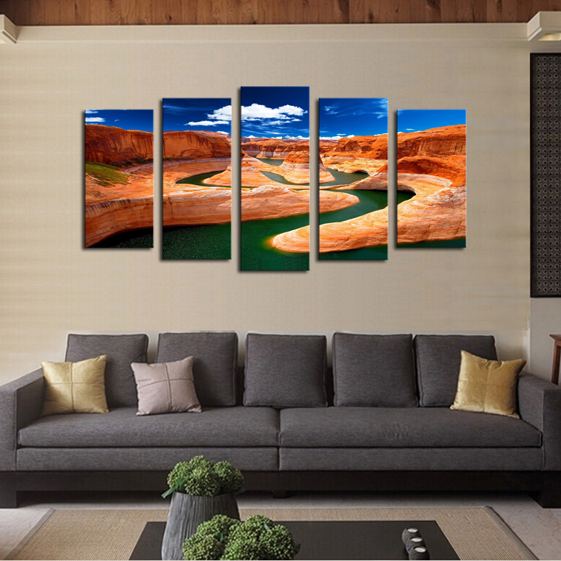 (No Frame)5 Panels Red Valley Picture Canvas Print Painting Artwork Wall Art Canvas Painting Wholesale For Home Decor(China (Mainland))