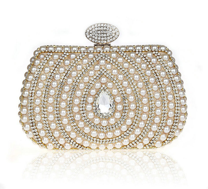 Lady Crystal Evening Purse Gold Metal Satin Wedding Clutches Bride Women Beaded Pearl Bag Rhinestone Beading Clutch - Ginza Plaza store