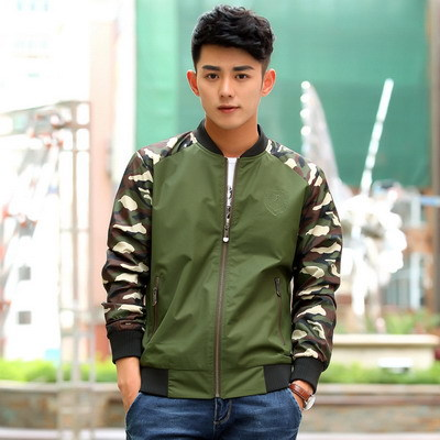 2015 Autumn winter male thin jacket fashion Camouflage sleeve army coat cardigan patchwork men's clothing military men jackets(China (Mainland))