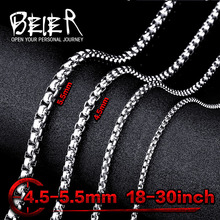 Beier stainless steel necklace twist 4.5mm/5.5mm trendy chain necklace boy man necklace chain Silver Color BN1010(China (Mainland))