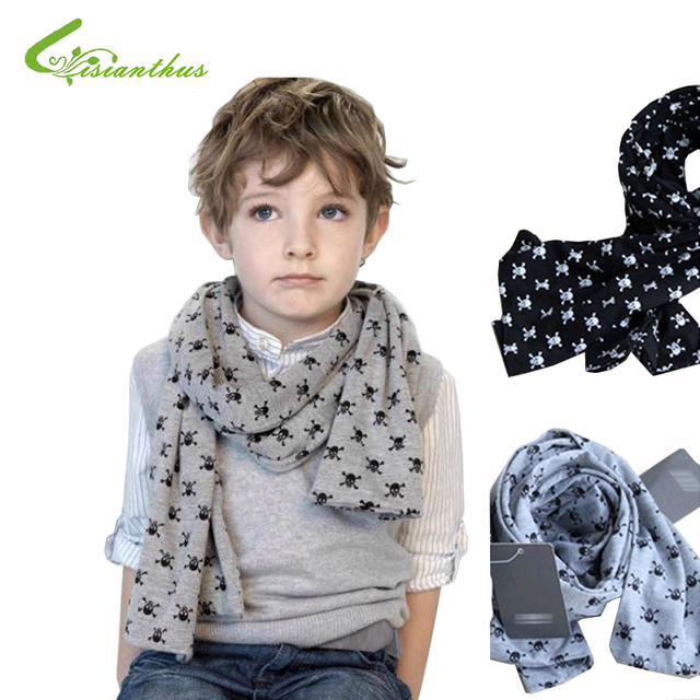 Retail & Wholesale Fashion kids Scarf Baby Skull Scarves Double-deck Spring Autumn Boys Cotton Scarf Children Gift Free Shipping
