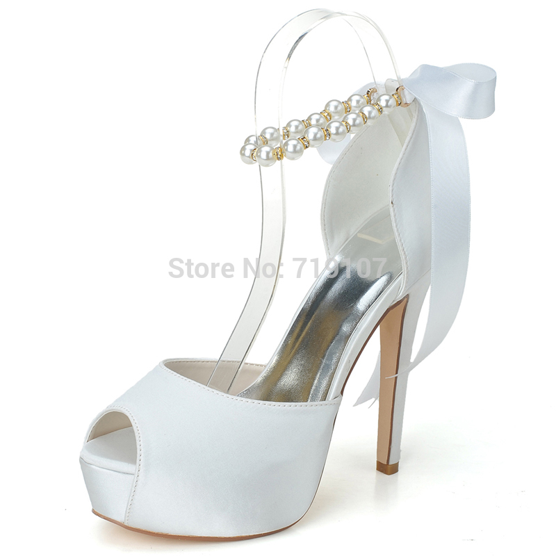 New Arrival Open Toe High Heels With Pearls Beading Wedding Shoes Women Pumps Bridal Shoes In
