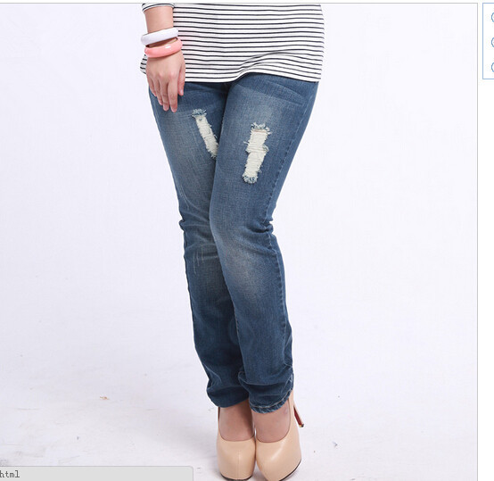 Free Shipping Fashion New Large Size Women Ripped Pencil Jeans ,female slim Fat Denim Patns  33-42Одежда и ак�е��уары<br><br><br>Aliexpress