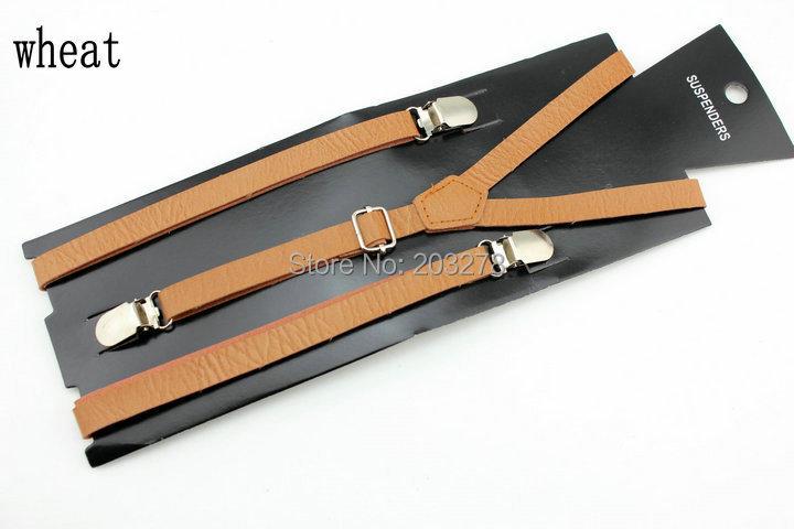pu leather Suspenders Mens braces Ladies Unisex Adjustable Slim Braces Trouser Clip On Fancy Dress 15mm Wide(China (Mainland))