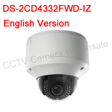 Free shipping English version DS-2CD4332FWD-IZ 3MP WDR Outdoor Dome Camera Support SD card recording,120dB WDR IP66