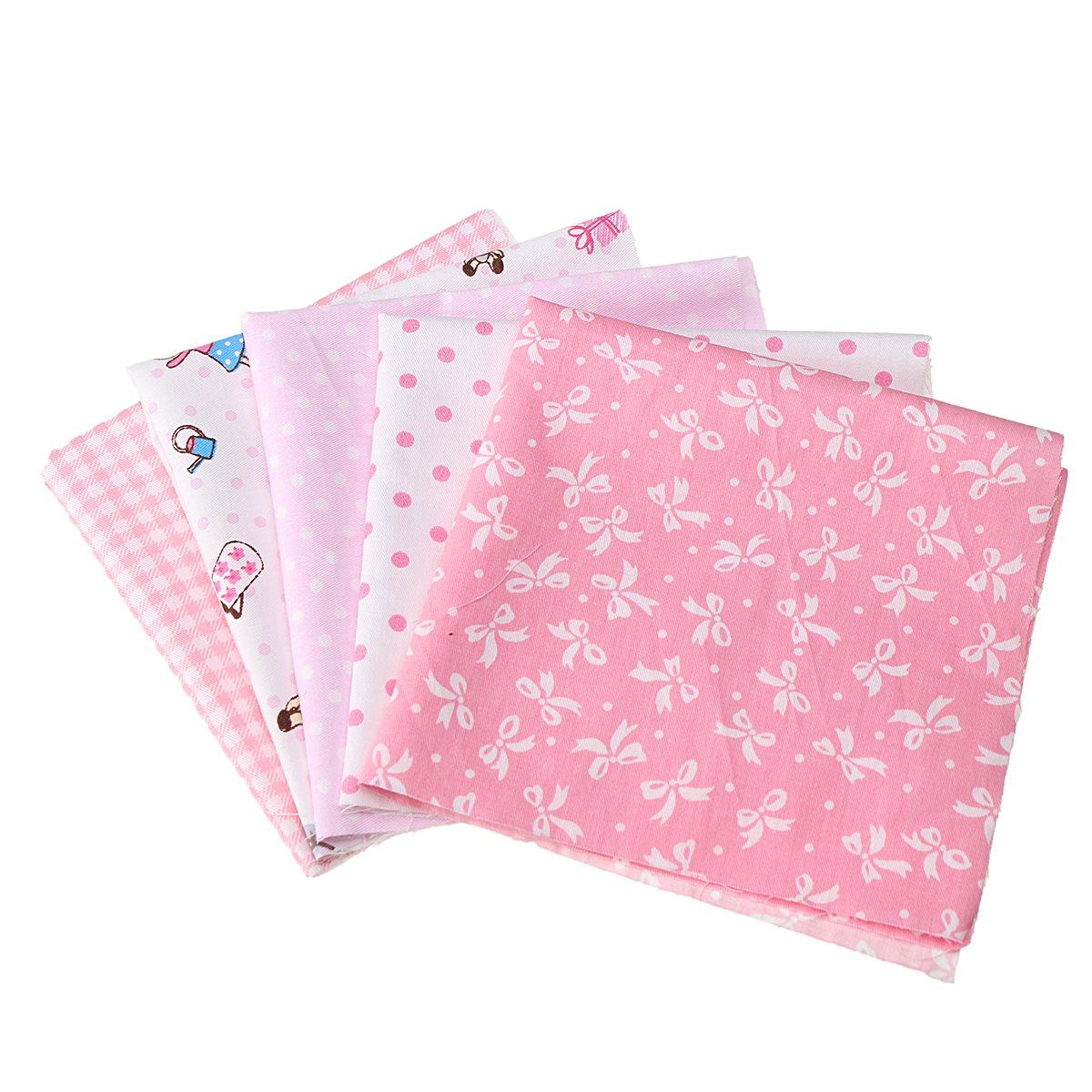 5Pcs/Set Assorted Sewing Pink Charm Cloth DIY Handmade Squares Cotton Fabrics Home Coffee Shop Table Decor Textiles 25*25CM(China (Mainland))