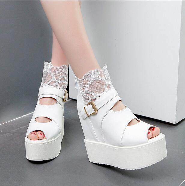 4-free shipping 2016 new vogue Adult open toe summer shoes women high heels fashion lace platform pumps wedges sandals 14cm