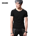 Men Rivet Short Sleeve T shirt Rock Stage Show Costumes Fashion Casual Slim Fit Male Tees