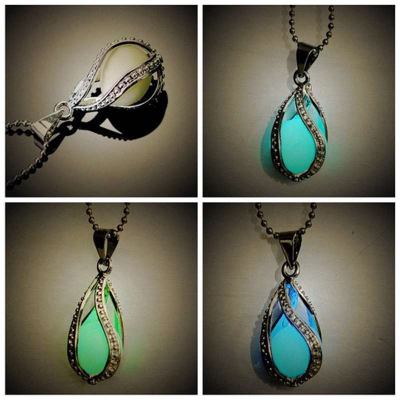 Steampunk Pretty Magic Round Locket Glow In The Dark Pendant Long Necklace Women(China (Mainland))