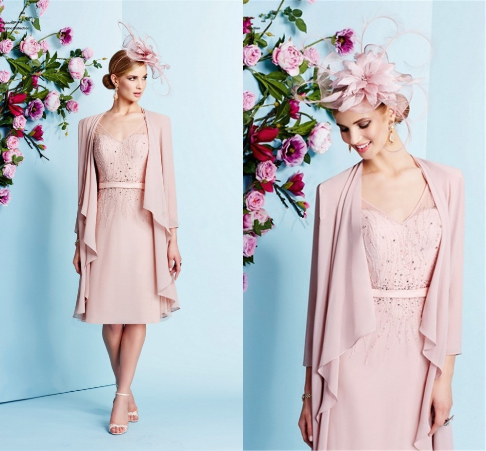 2015 Hot Sale Mother Of The Bride Dress Pink Chiffon Jacket Wedding Guest Women Formal Outfit