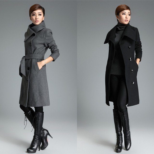 Images of Long Black Trench Coat Womens - Reikian