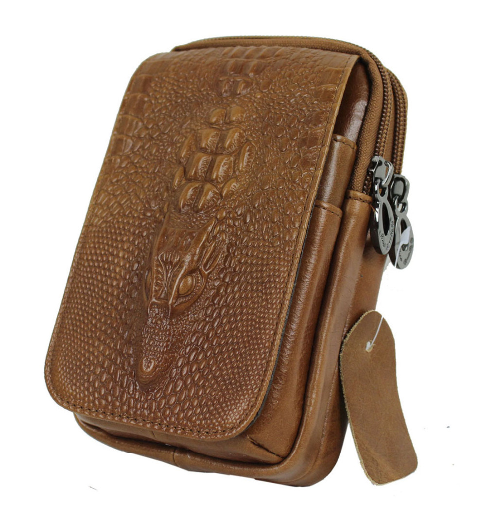 2016 New Men Genuine Leather Crocodile Grain Vintage Cell/Mobile Phone Cover Case skin Hip Belt Bum Fanny Pack Waist Bag Pouch(China (Mainland))