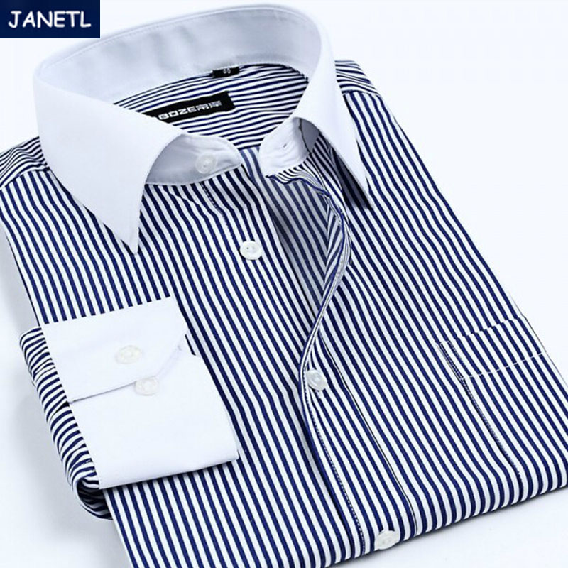 Brand Men Shirt Striped Casual Long Sleeve Work Wear Camisa Masculina Clothes Shirts New 2016 - janet liang's store