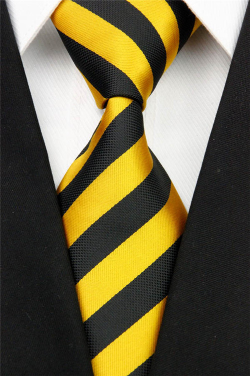 NT0086 Man's Classic Gold Black Striped Jacquard Woven Silk Polyester Fashion Tie Luxury Casual Business Wedding Party Necktie - askformore store
