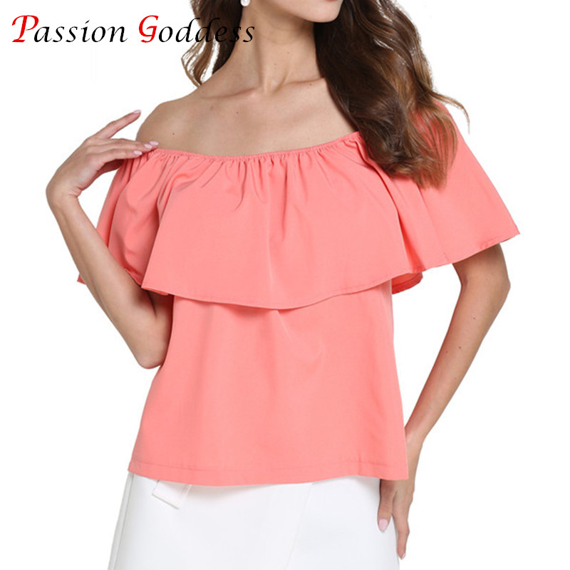2017 Summer Plus Size Women Chiffon Blouse Shirt Slash Neck Sleeveless Off the Shoulder Ruffles Blouses Ladies Tops White Red(China (Mainland))