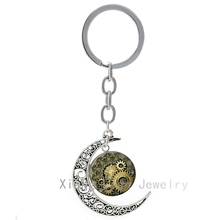 Steampunk Vintage Design Clock Gear print picture moon key chain retro Striped Swis Watch Movement Mens keychain keyring T609(China (Mainland))