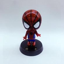 Nova Versão Q Figura de Ação de Super-heróis Brinquedos Homem De Ferro Figura PVC Brinquedo Energia Solar Agite cabeça 12 cm Meninos Presente brinquedos(China)