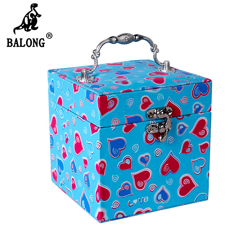 Square Shape Love Heart Pattern Jewelry Display Container Fashion Canvas Small Jewelry Box Necklace Casket Packing Organizer(China (Mainland))