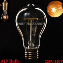 40W Classical Vintage Retro E27 Filament A19 Edison Bulb Light Warm White Dimmable AC 220V-240V Antique Incandescent Bulb Lamp(China (Mainland))