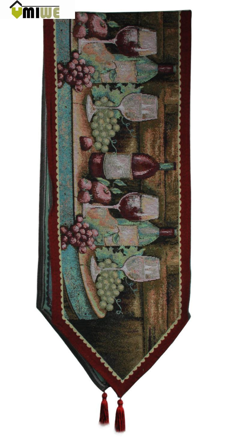 Umiwe American Rustic Paint European Western Style Cotton Linen Food Dinner Table Runner(China (Mainland))