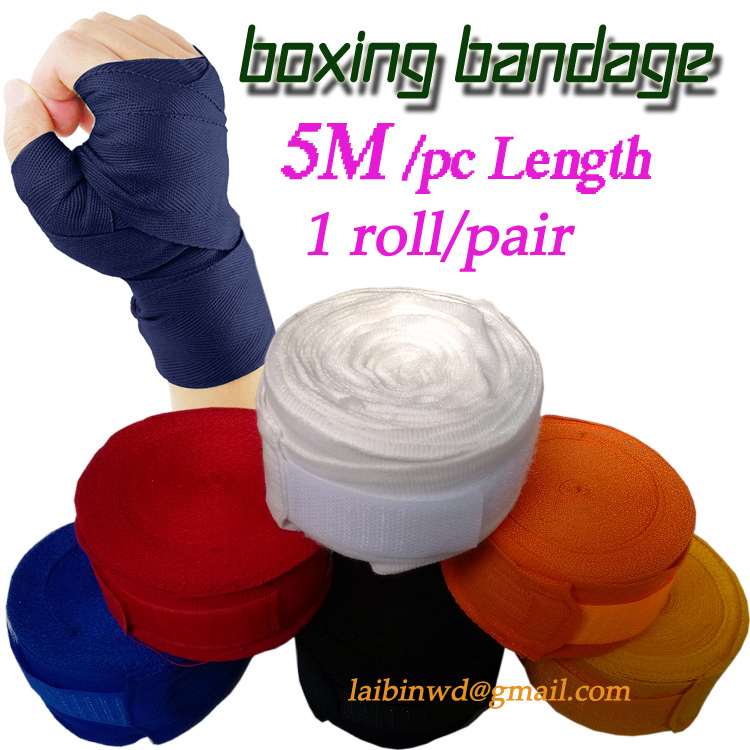 5M length 2pcs/roll Width 5cm quanlity Cotton Sports Strap Boxing Bandage Sanda Muay Thai MMA Taekwondo Hand Gloves Wraps 1 pair(China (Mainland))