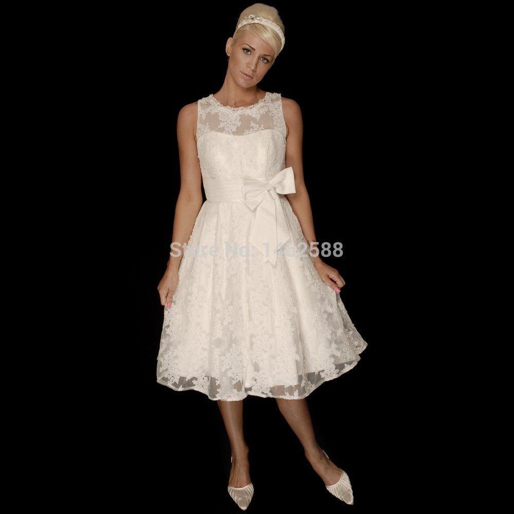 Ivory lace appliques bow sashes tea length wedding dresses for Ivory lace tea length wedding dress