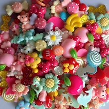 50Pcs  Mixed color Flat Back Resin Buttons children's diy hair accessories  handmade Phone shell decorative
