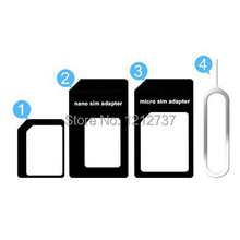 4 in 1 Micro Sim Adapter Nano Sim Card Adapter For apple iphone 4 4s 5 5s 5c With Eject Pin Key Retail Package