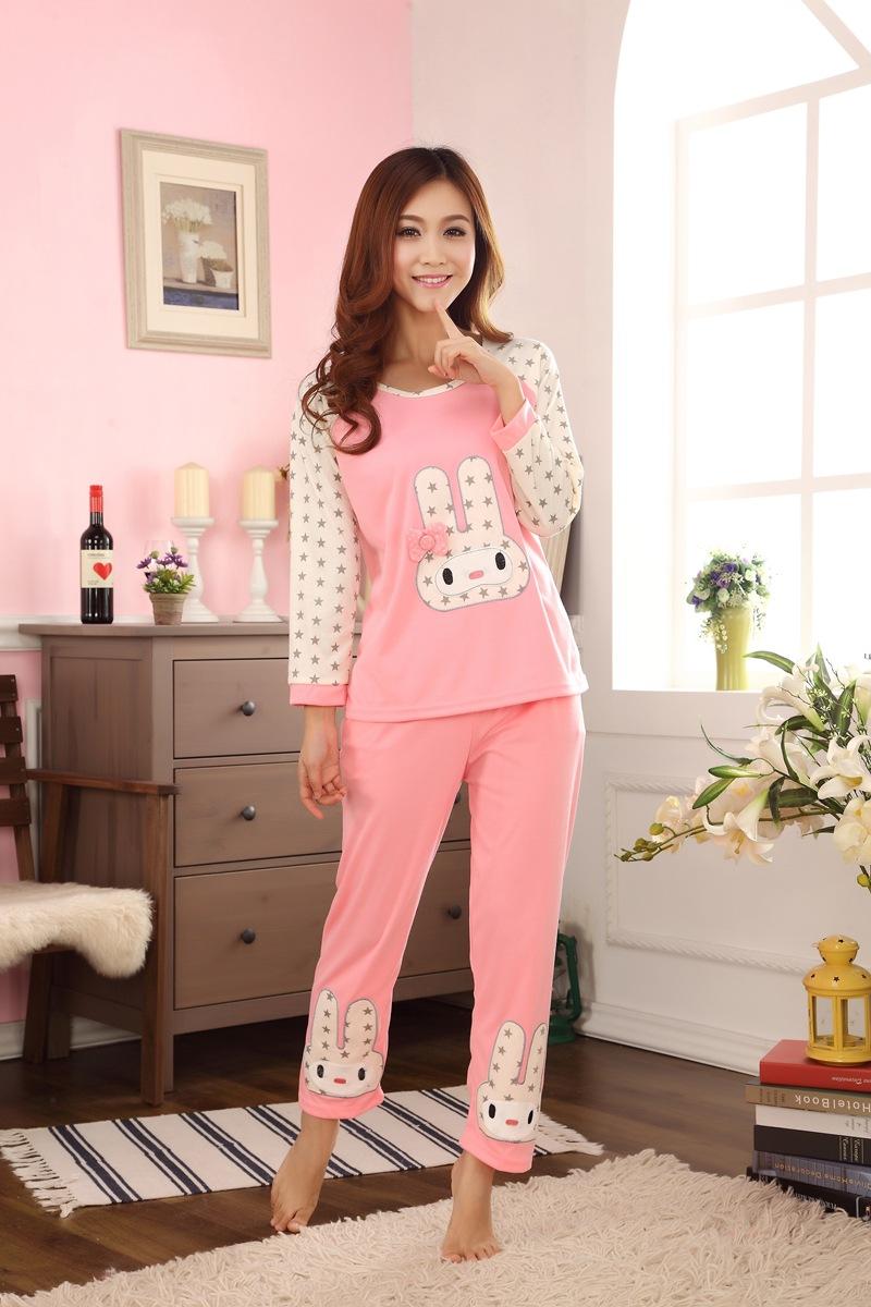 1SET Women's nighty sleepwear cute rabbit pattern autumn ...