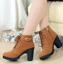 2019 yeni sonbahar kış kadın çizmeler yüksek kaliteli katı dantel-up avrupa bayan ayakkabıları PU moda yüksek topuklu çizmeler 35-43(China)