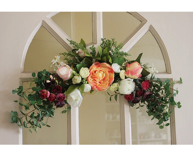 21 5 39 39 55cm fashion artificial flower door lintel mirror for Artificial flowers for home decoration online