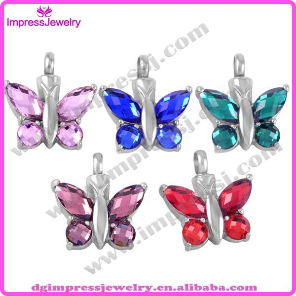 IJD8497 hot sale 316L stainless steel colorful crystal butterfly Cremation urn ash Jewelry(China (Mainland))