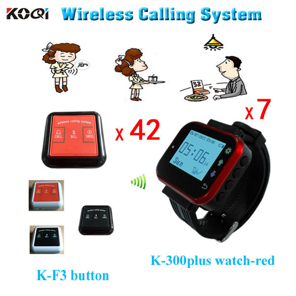 Cheapest Guest Paging System 7pcs Wrist Pager and 42pcs Waiter Call Button Free Shipping(China (Mainland))