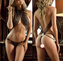 hot sexy lingerie costumes underwear women Sexy Leopard bikini bodystocking Lingerie Sheer Bodysuit black backless Teddies(China (Mainland))
