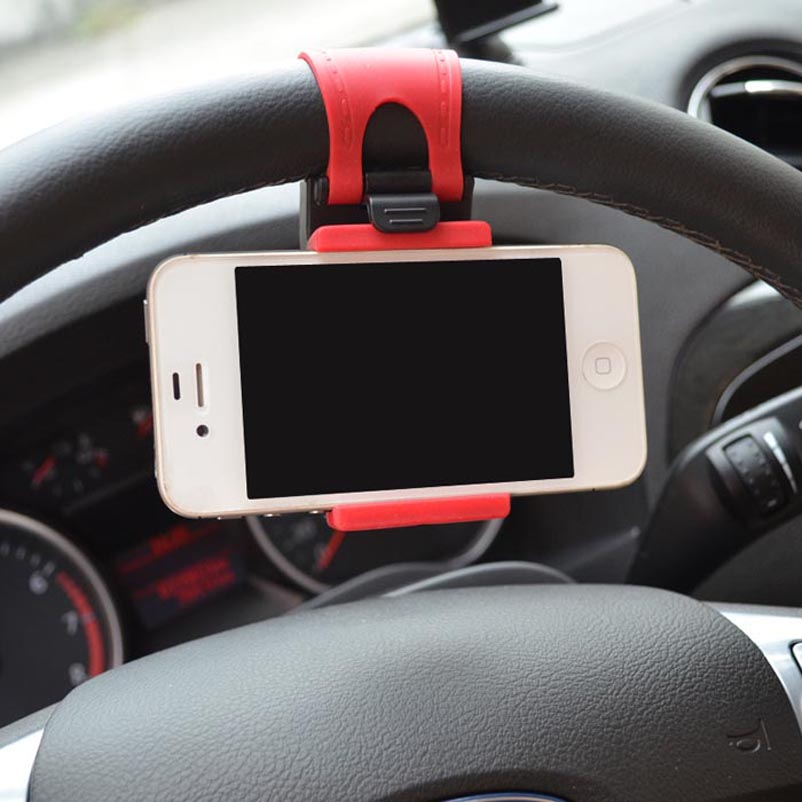 Phone Holder Automobile Steering Wheel Car Universal Mounts Mobile Phone,GPS,Mp3,Mp4 Stand - Hillsionly Store store