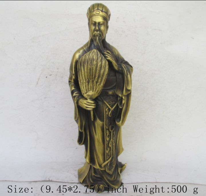 zhxia 9.45 inch/Chinese Copper figure of three kingdoms zhuge kongming statue(China (Mainland))