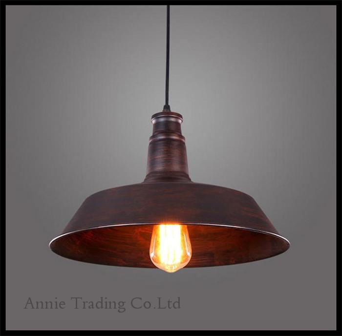 Edison bulbs included 110V - 240V AC D26cm metal Pendant Lights modern white black rustic lampshade luminarias retro lamp(China (Mainland))