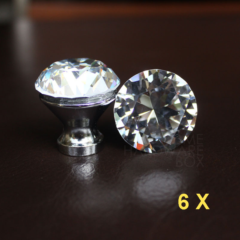 """6 pc clear crystal drawer knobs 30mm cabinet handle pull glass diamond 1.25"""" kitchen cabinet(China (Mainland))"""