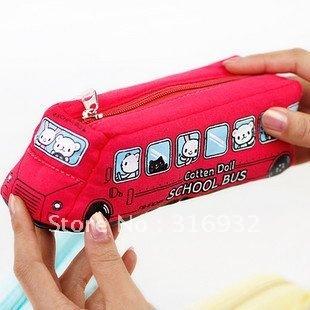 Creative&free shipping! UK school bus pencil case,cotton doll pen bag