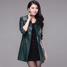 New 2015 Autumn and Winter Medium Long Sytle Casual Jackets Women's Second Layer Leather Jacket Women Coat Free Shipping(China (Mainland))