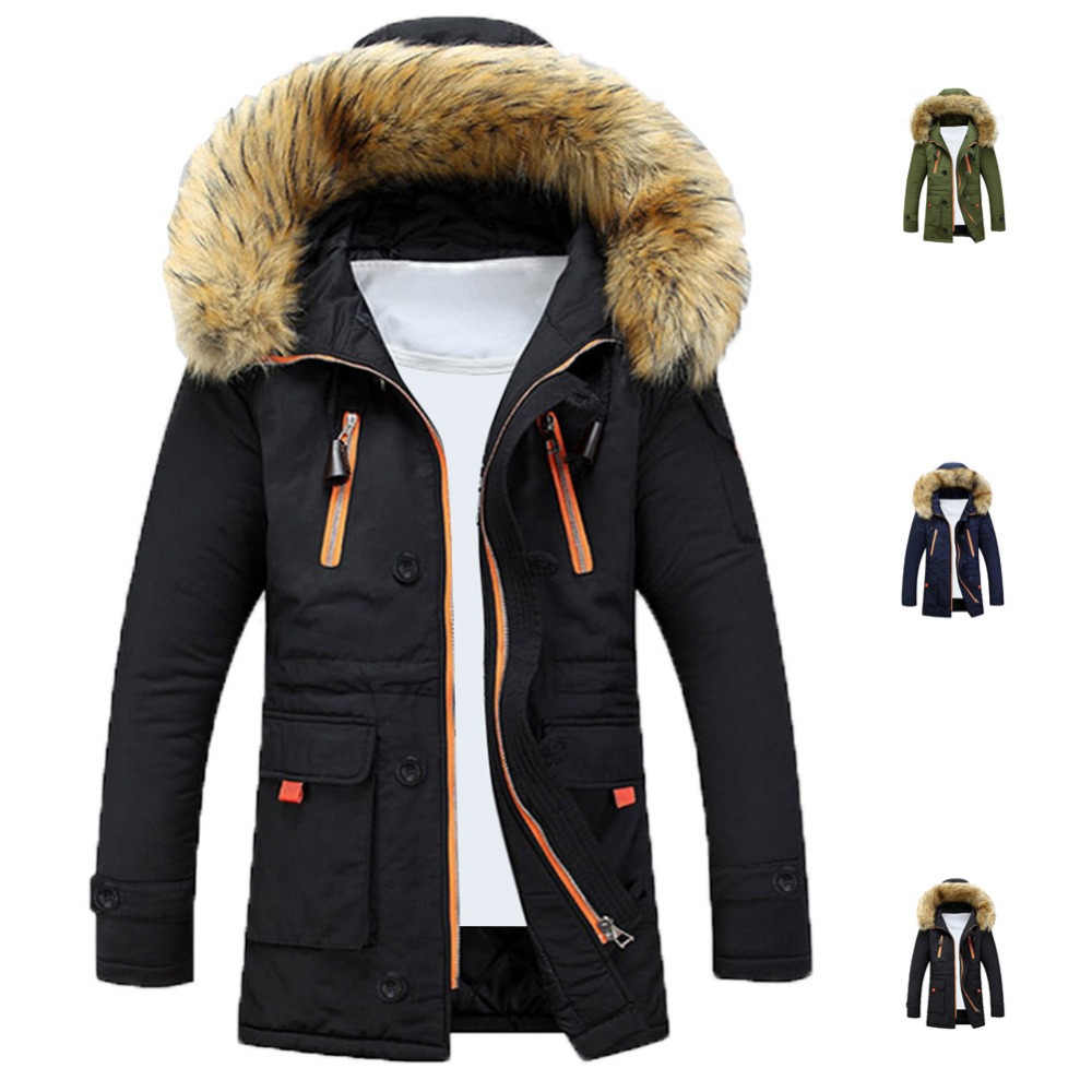 Mens Winter Fur Collar Lining Thick Parka Overcoat Padded Trench Jacket Coat - Feedback(858 store| Orders (1506))