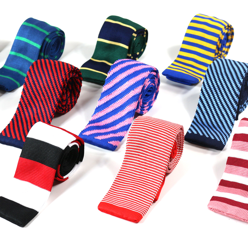 Men's solid-color square knitted neck tie completes any ensemble. AngelShop 4PCS Vintage Casual Tie Mens Solid 2