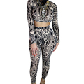 Womens Tattoo Print Vintage Retro Crop Top and Bodycon Pants Set Suit Clothing 2 Piece Set