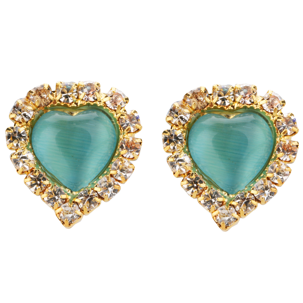 New fashion exquisite luxuriant design Studded heart-shaped around the cat's eye earrings earrings for women(China (Mainland))