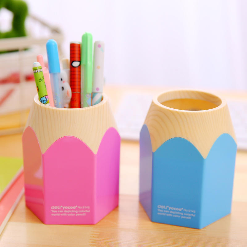 Free ship!1lot=6pc!Color pencil model pen container / desk creative multifunctional pen holders / desktop storage(China (Mainland))