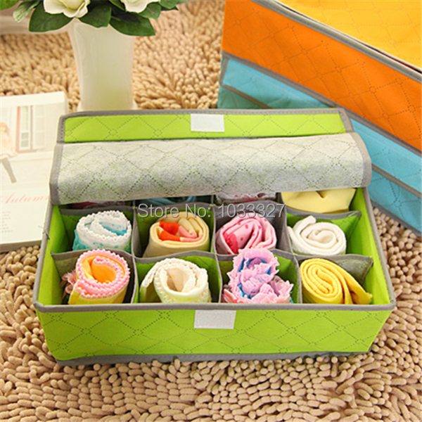 Free shipping Creative Underwear or Socks storage Non-woven fabric Boxes, Multifunctional Home Storage Bins, Velcro seal(Hong Kong)