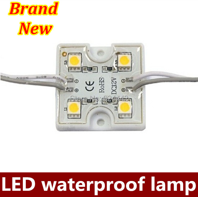 Wholesale 200pca/lot 4 LED 5050 SMD Module Waterproof Light Lamp DC 12V Free shipping via HK post(China (Mainland))