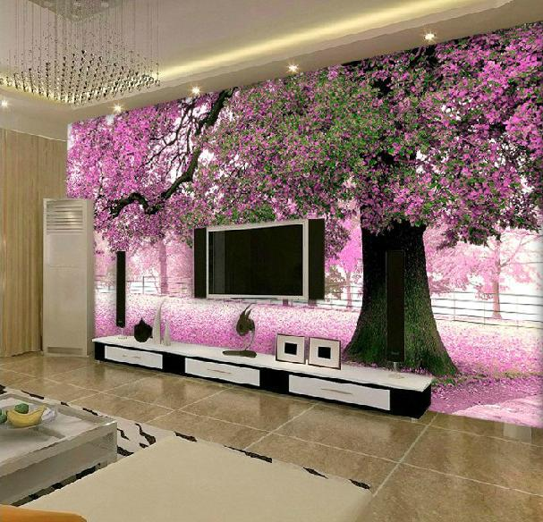 Free shiping 3d mural wallpaper romantic large custom for Images of 3d wallpaper for bedroom